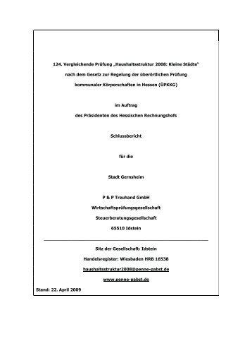 """Vergleichende Prüfung """"Haushaltsstruktur 2008 ... - Stadt Gernsheim"""