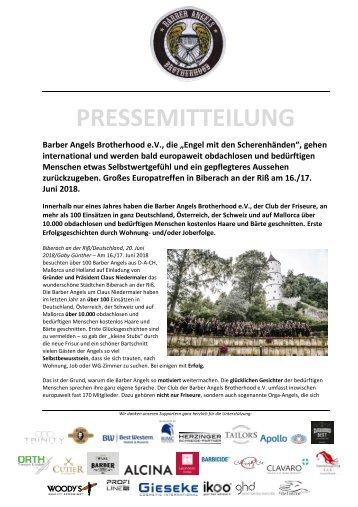 Pressemitteilung Barber Angels Europatreffen 2018