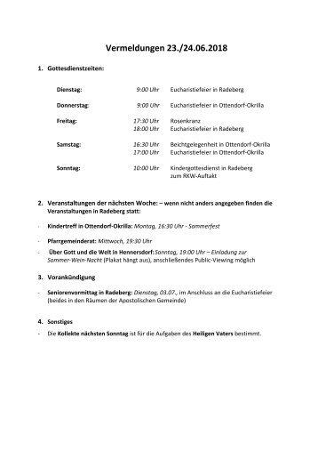Vermeldungen für KW26/18