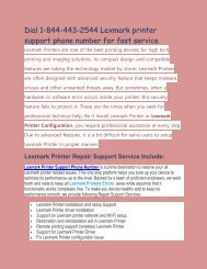 Dial 1-844-443-2544 Lexmark printer support phone number for fast service.output