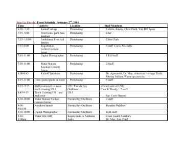 Step Up Florida! Event Schedule February 2nd, 2004 Time Activity ...