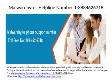 Malwarebytes Online Support Helpline Number 1-8884626718