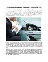 Find What A Professional Has To Say About Car Body Repair Shop