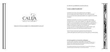 CALLA Speisekarte