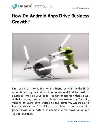 How Do Android Apps Drive Business Growth