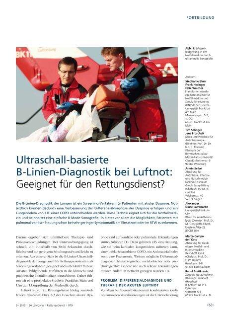 """B-Linien Diagnostik mit Sonoskopie nach Breitkreutz plus Filme. Archiv """"RETTUNGSDIENST_Ausgabe_9-2013"""