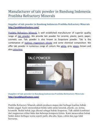 Manufacturer of talc powder in Bandung Indonesia Pratibha Refractory Minerals