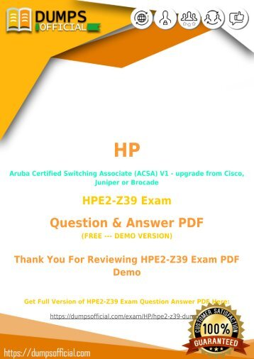 HP HPE2-Z39 Exam Questions