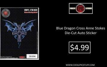 Blue Dragon Cross Anne Stokes Die-Cut Auto Sticker - Cool Epic Stuff