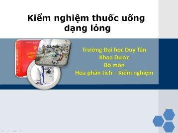 Kiểm nghiệm thuốc dạng lỏng - Thuốc đặt - Thuốc mỡ - Thuốc nhỏ mắt - Khoa Dược - Trường Đại học Duy Tân