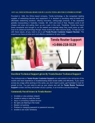 Tenda Router Customer Support Number +1-866-218-3129