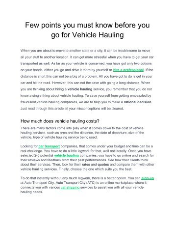 Few points you must know before you go for Vehicle Hauling