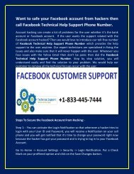 Facebook Tech Support Phone Number +1-833-445-7444