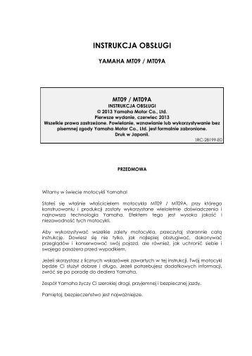 Yamaha MT09 - 2013 - Manuale d'Istruzioni Polski