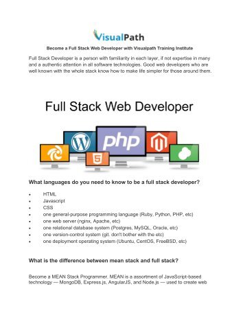 Become a Full Stack Developer and Full stack Online Training