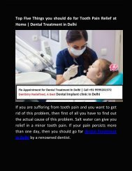 Top Five Things you should do for Tooth pain releif - Dental Implant Clinic