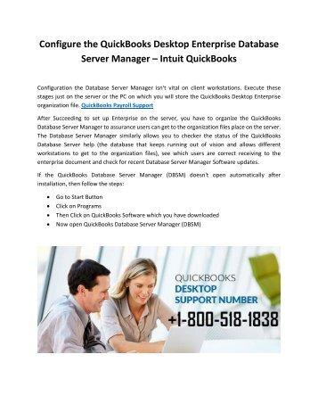 Configure the QuickBooks Desktop Enterprise Database Server Manager – Intuit QuickBooks