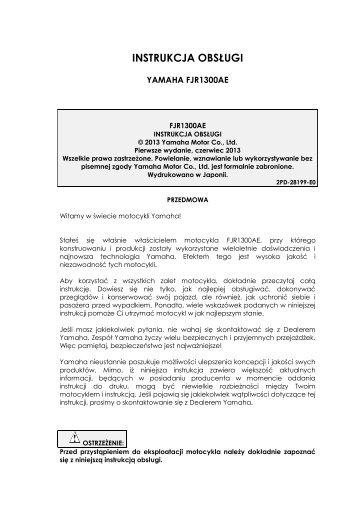 Yamaha FJR1300AE - 2013 - Manuale d'Istruzioni Polski
