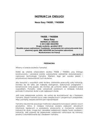 Yamaha NEO'S 50 2-ST - 2013 - Manuale d'Istruzioni Polski