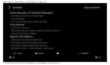 Sony KDL-46W5820 - KDL-46W5820 Consignes d'utilisation Turc