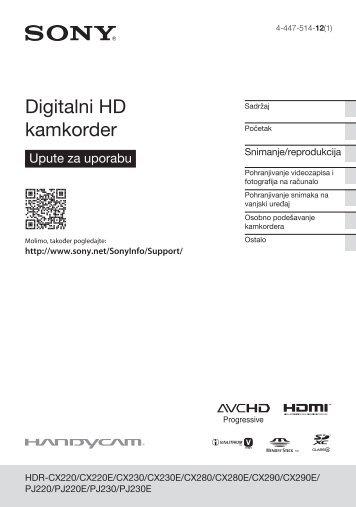 Sony HDR-PJ220E - HDR-PJ220E Mode d'emploi Croate