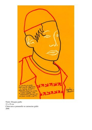Titolo: Disegno giallo 15 x 25 cm China nera e pennarello su ...