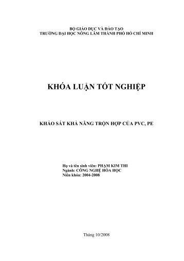 KHẢO SÁT KHẢ NĂNG TRỘN HỢP CỦA PVC, PE (2008)