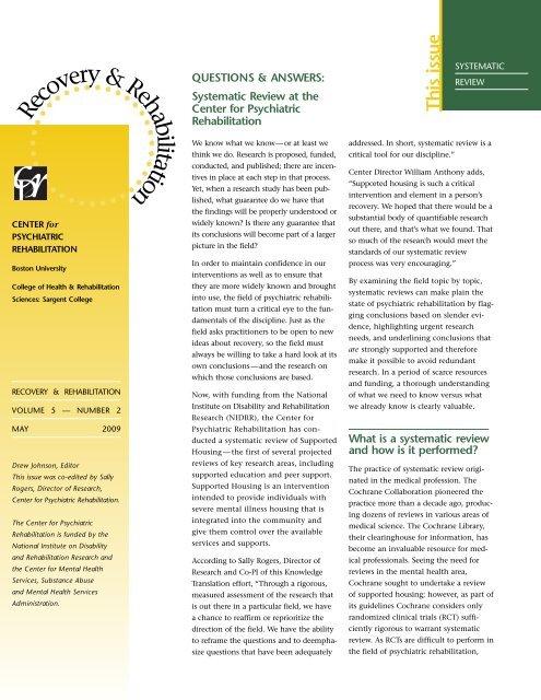 What Discipline Looks Like At Boston >> Th Is Issu E Center For Psychiatric Rehabilitation Boston University
