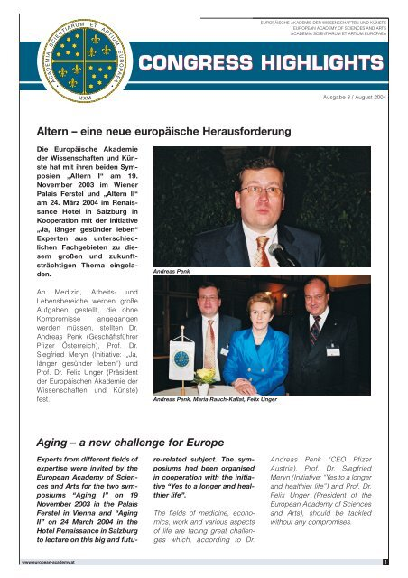 congress highlights - European Academy of Sciences and Arts