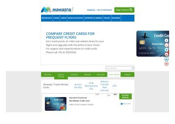 travel credit card offers in Pakistan