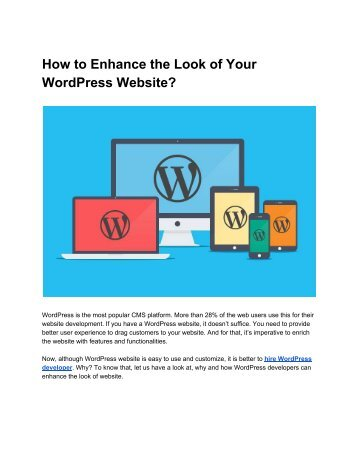 How to Enhance the Look of Your WordPress Website
