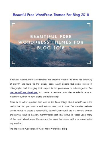 Beautiful Free WordPress Themes For Blog 2018
