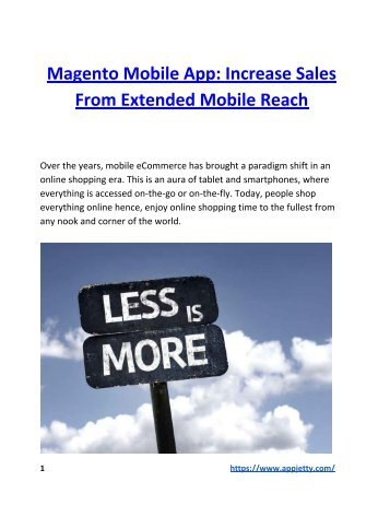 Magento Mobile App: Increase Sales From Extended Mobile Reach