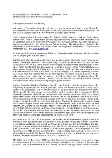 Grenzgängerinformation Nr. 10 vom 21 ... - Pensions Kasse