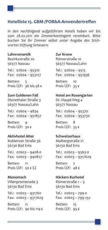 Hotelliste 15. GBM-/POB&A-Anwendertreffen - stiftung scheuern