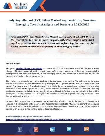 Polyvinyl Alcohol (PVA) Films Market Segmentation, Overview, Emerging Trends, Analysis and Forecasts 2012-2020