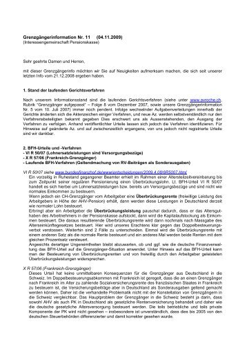Grenzgängerinformation Nr. 11 (04.11.2009) - Pensions Kasse
