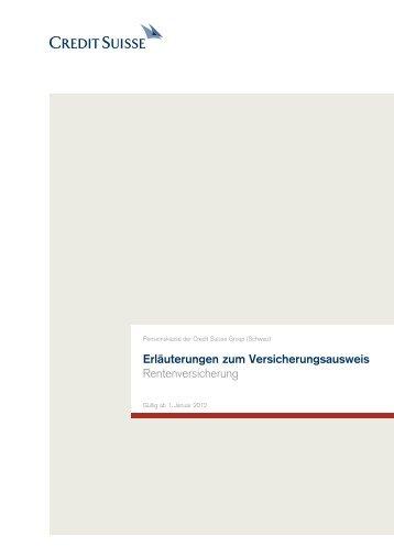 Erläuterungen zum Versicherungsausweis - Credit Suisse ...