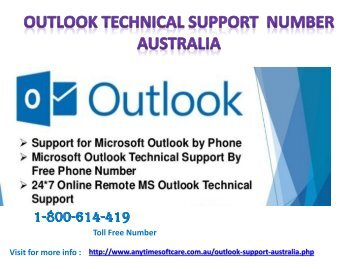 Outlook Technical Support Number Australia 1-800-614-419| Desirable Solution