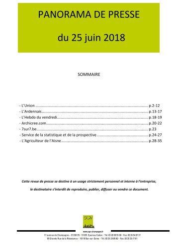 Panorama de presse quotidien du 25-06-2018