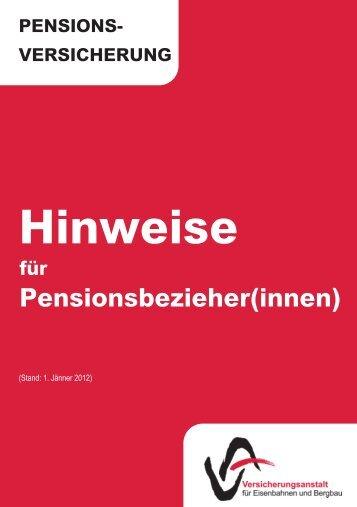 Hinweise Für Pensionsbezieher(innen) - VAEB