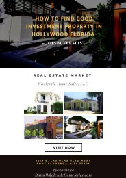 How to find good investment property in Hollywood Florida – JoinBuyersList