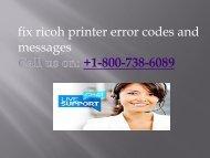 +1-800-738-6089  fix ricoh printer error codes and messages