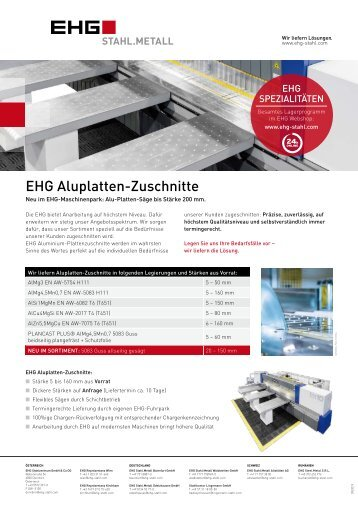EHG Produktblatt Plattenzuschnitte Alu DE 2018