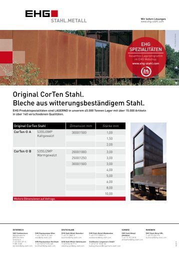 EHG Produktblatt CorTen DE 2018