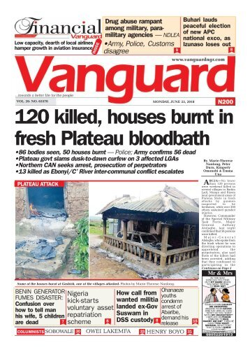 25062018 - 120 killed, houses burnt in fresh Plateau bloodbath