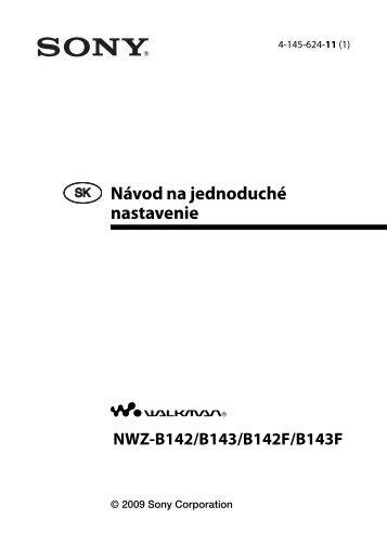 Sony NWZ-B143 - NWZ-B143 Mode d'emploi Slovaque