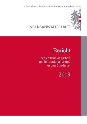 Bericht 2009 - Volksanwaltschaft
