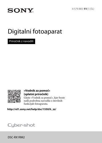 Sony DSC-RX1RM2 - DSC-RX1RM2 Mode d'emploi Slovénien