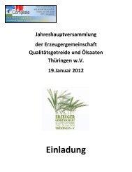 Einladung - EZG Qualitätsgetreide und Ölsaaten Thüringen w.V.